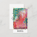 ORIGINAL ART WATERCOLOR with GOLD SQUIGGLY LINE Business Card