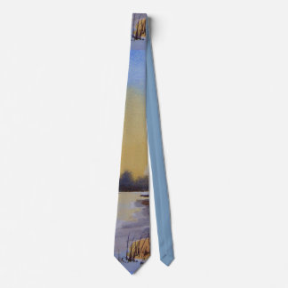 original art winter landscape painting design tie