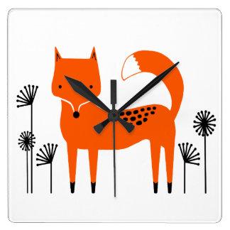 """Original art work"" Fred the Fox Square Wall Clock"