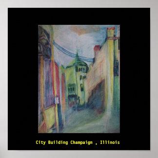 Original Artwork, City Building in Champaign Ill Posters