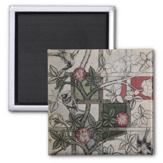 Original artwork for 'Trellis' wallpaper design, 1 2 Inch Square Magnet