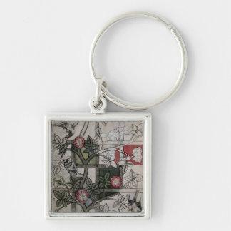 Original artwork for 'Trellis' wallpaper design, 1 Silver-Colored Square Keychain