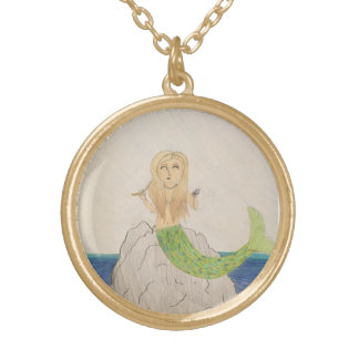 Original artwork Mermaid Seas round necklace