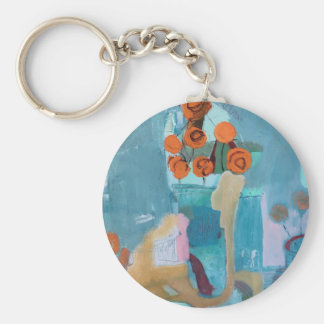 Original artwork print floral abstract keychain