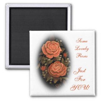 Original Artwork Print Orange Roses Magnet
