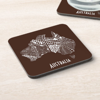 Original Australia Map Art - Choose Your Colour Beverage Coaster
