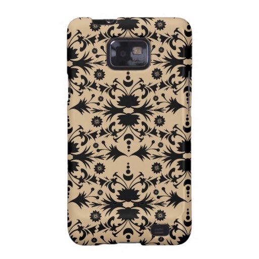 Original Black on Tan Damask Pattern Galaxy SII Covers