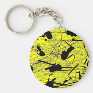 Original Black Splatter Painting Keychain