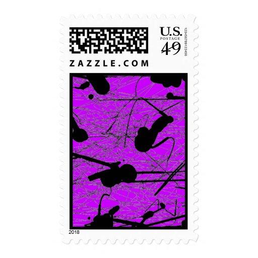 Original Black Splatter Painting Postage Stamps