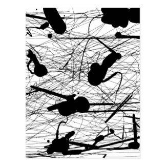 Original Black Splatter Painting Postcard
