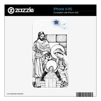 Original Black White and Blue Nativity Decal For The iPhone 4