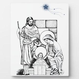 Original Black White and Blue Nativity Plaque