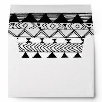 Original black white hand drawn aztec pattern envelope