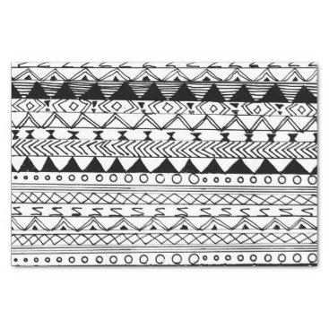Aztec Themed Original black white hand drawn aztec pattern tissue paper