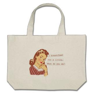 Original Breastfeed For a Living Retro Mom Humor Bag