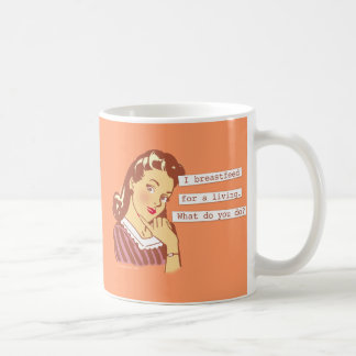 Original Breastfeed For a Living Retro Mom Humor Coffee Mug
