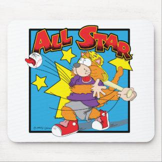 Original Cartoon Cat Character Playing Baseball Mouse Pads