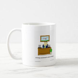 Original cartoon, showing daydreaming flyer classic white coffee mug