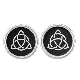 Original Celtic Triquetra Knot white icon Cufflinks