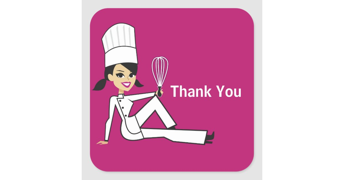 Original chef with whisk thank you stickers zazzle