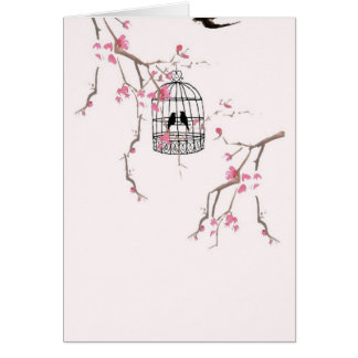 Original cherry blossom birdcage artwork card