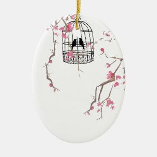 Original cherry blossom birdcage artwork Double-Sided oval ceramic christmas ornament