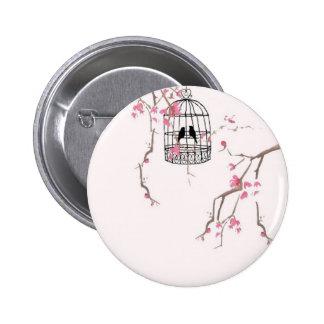 Original cherry blossom birdcage artwork pinback button