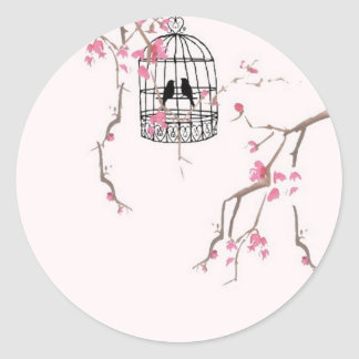 Original cherry blossom birdcage artwork round sticker