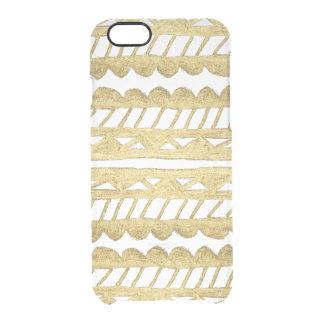 Original chic faux gold paint modern aztec clear iPhone 6/6S case