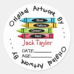 Original Childrens Artwork Stickers Crayons