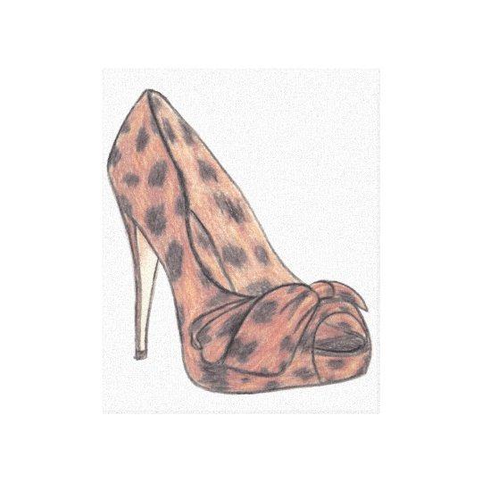 Original Christian Louboutin Shoe Illustration Canvas Print