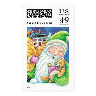 Original Cute Art Christmas Santa Postage Stamp
