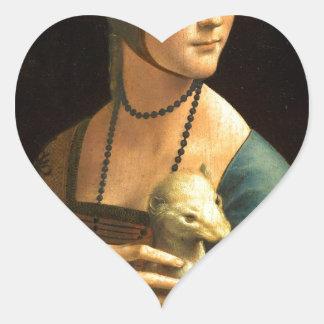Original Da vinci's paint Lady with an Ermine Heart Sticker