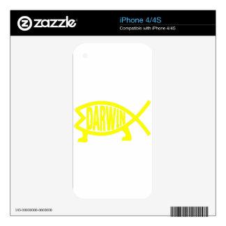 Original Darwin Fish (Yellow) iPhone 4 Skins