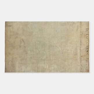 Original Declaration of Independence Rectangular Sticker