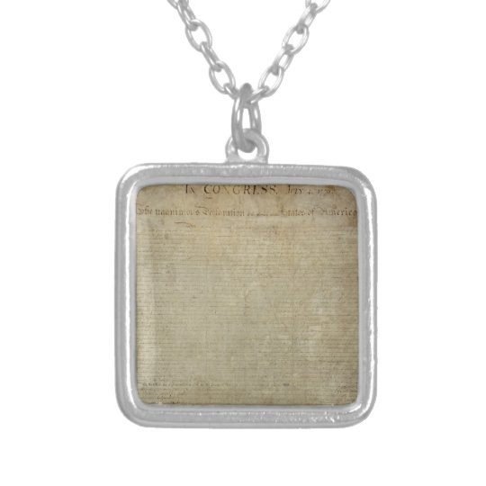 Original Declaration of Independence Silver Plated Necklace