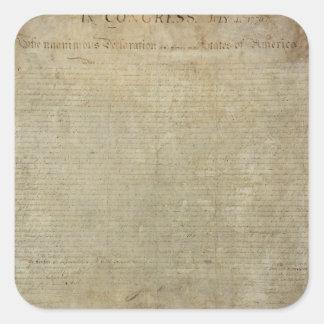Original Declaration of Independence Square Sticker