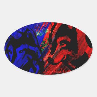 Original del lobo de dos lobos por los ojos de pegatina ovalada