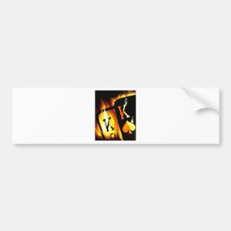 ORIGINAL DESIGN FLAMING POCKET KINGS POKER ART BUMPER STICKER