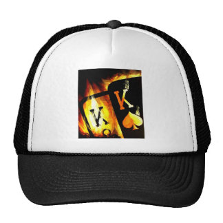 ORIGINAL DESIGN FLAMING POCKET KINGS POKER ART TRUCKER HAT
