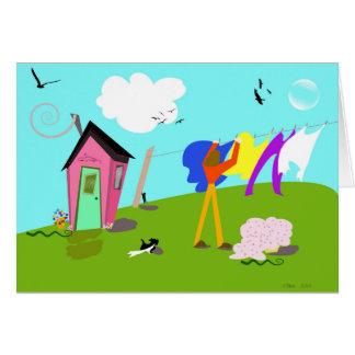 "Original digital artwork ""Laundry Helper"" Card"