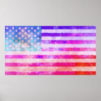 Original digital painting of the American flag. Poster