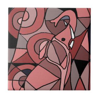 Original divertida del arte abstracto del elefante tejas