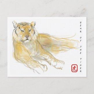 Original Drawing Chinese Tiger Year Birthday HPC2 Holiday Postcard