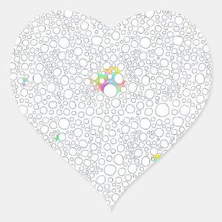 Original drawing pattern of circles like cells heart sticker