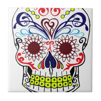 Original Drawn By Artist Sugar Skull Ceramic Tile