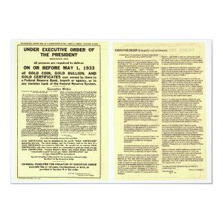 ORIGINAL Executive Order 6102 April 5 1933 5x7 Paper Invitation Card