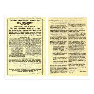 ORIGINAL Executive Order 6102 April 5 1933 Postcard