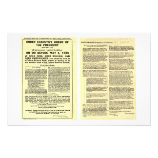 ORIGINAL Executive Order 6102 April 5 1933 Personalized Stationery