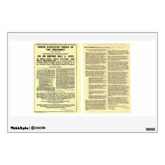 ORIGINAL Executive Order 6102 April 5 1933 Wall Decal